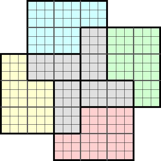 Solution sudoku samoura sp cial 4 grilles asym trique niveau d butant n 10000 - Grilles de sudoku vierges ...